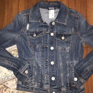 Dark wash distressed fitted denim jacket